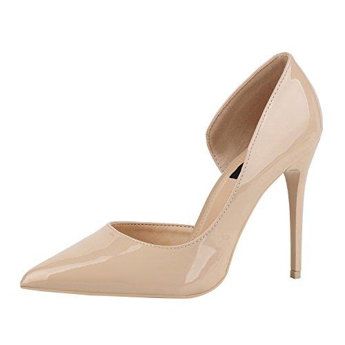 Spitze Lack Damen Schuhe Pumps Cut-Outs Party Abendschuhe Stilettos Nude Beige 36