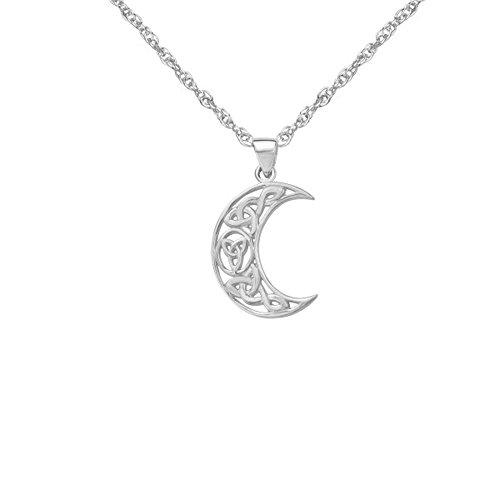 Knoten-Entwurfs-sichelförmiger Mond geformter Halsketten-Anhänger der Sterlingsilber-traditioneller keltischer Heiligen Dreifaltigkeit - schließt 16