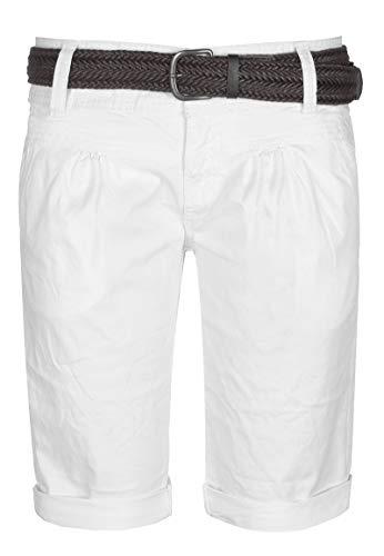 Fresh Made Sommer-Hose Bermuda-Shorts für Frauen | Kurze Chino-Hose mit Flecht-Gürtel | Basic Shorts aus Baum-Wolle White L