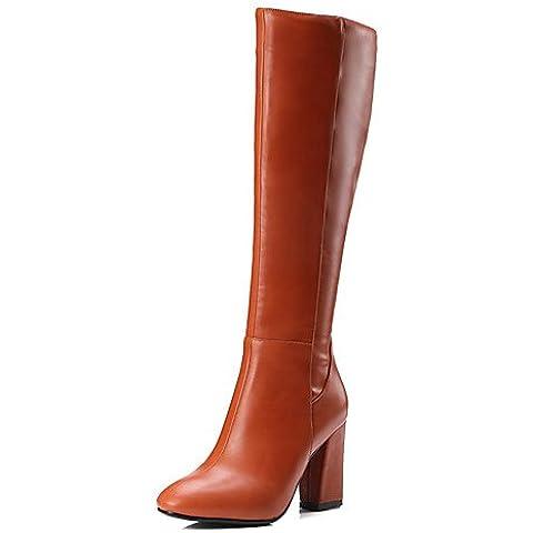 Scarpe Donna Stivali primavera/autunno/inverno stivali moda Ufficio carriera/Abbigliamento/Casual Chunky Heel ZipperBlack/marrone,marrone,US8.5 / EU39 / UK6.5 / CN40