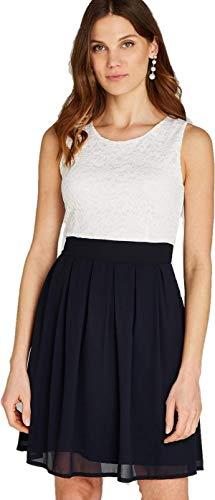 Apricot Damen Kleid mit Spitze und Color-Block,Cocktailkleid Sommerkleid Partykleid (M, Navy)