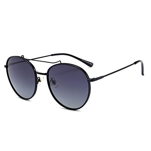 Persönlichkeit Round Face Fashion Wilde Sonnenbrille UV400 Sonnenbrille Weibliche Retro Sonnenbrille Brille (Farbe : Black)