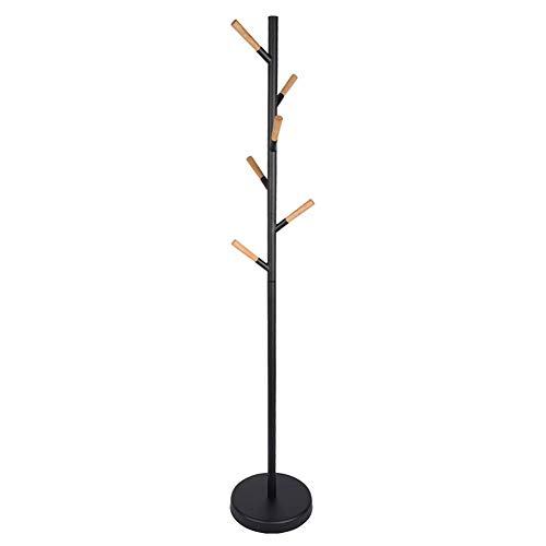Hall Tree Set (Barture Kleiderablage Hutablage Regenschirmständer Fellbaum, Hall Tree Freistehend, Mit 6 Buchenholzhaken, Für Kleidung, Hut, Tasche (Color : Black))
