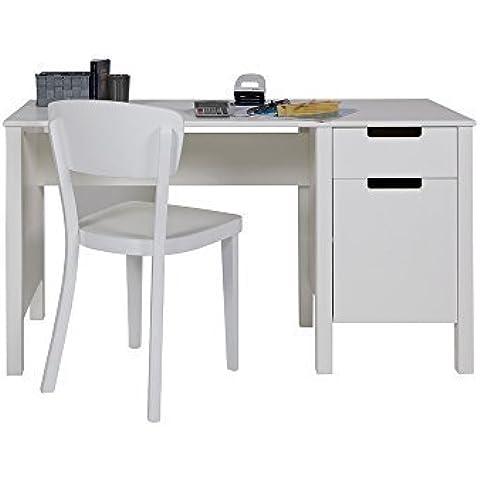 Escritorio/los niños escritorio janny, madera de pino, de colour blanco, 140 x 60 cm