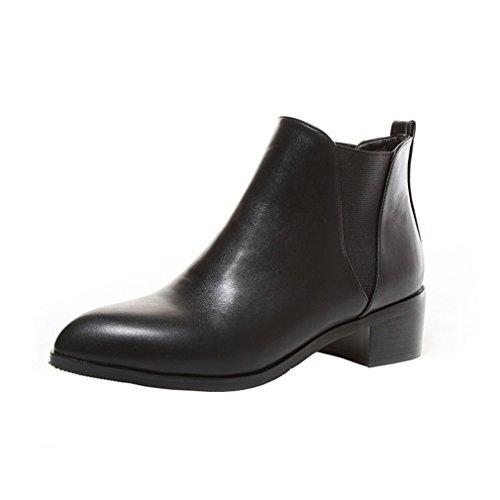 Y2Y Studio Femmes Boots Chelsea de Cheville Bout Pointu Hiver 2017 Talons Plates Bloc Confortables