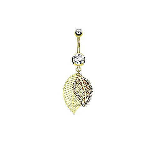 eeddoo goldenes BAUCHNABELPIERCING mit ANHÄNGER Leaf - Gold - Banane aus Edelstahl - 1,6X 10 mm - Piercing-Banane für den Bauchnabel - Bananabell/Bellybutton Navel-Ring für Damen