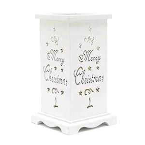 Gifts 4 All Occasions Limited SHATCHI-1283 Shatchi - Portavelas de madera sin llama, diseño navideño, funciona con pilas, color blanco