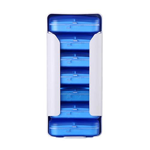 NOTUO Weekly Pill Organizer mit Splitter, Drug Storage Box, 7 stapelbaren Fächern Portable Travel Pill Case für Pillen, Vitamin, Nahrungsergänzungsmittel und Medikamente,Blue - Pill Box Drug