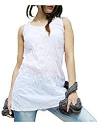 Aller Simplement - Débardeur coton a bretelles larges effet froissé V1 Blanc