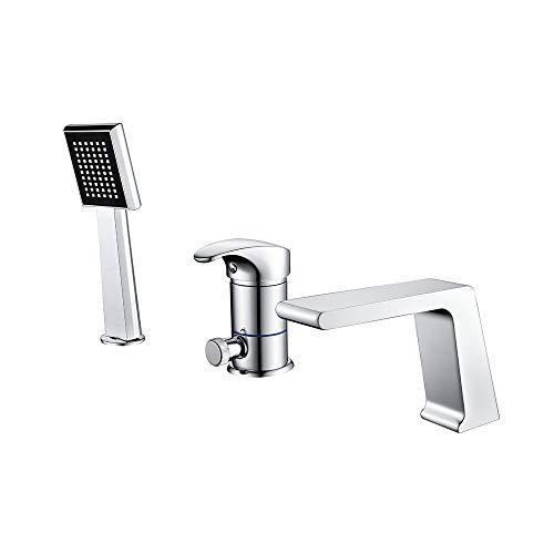 Zeitgenössische Badewanne (HUIJIN1 3 Löcher Badewanne Wasserhahn & Handdusche, zeitgenössischer Stil Wanne Spout, Wand montiert Ventilbad-Dusche-Armaturen, rostdicht, Soil-Messing, Chrom fertig)