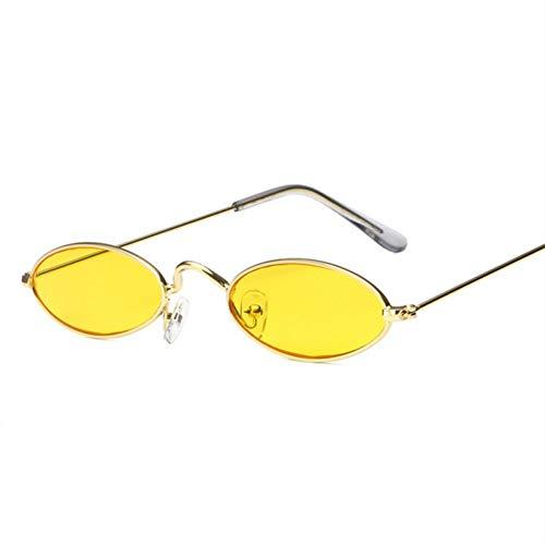 TIANKON Ovale Sonnenbrille Damen Kleine Cat Eye Sonnenbrille Herren Metallrahmen Kleine Runde Sonnenbrille Uv400,C2