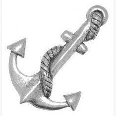 Pewter Pin Badge-Spilla a forma di ancora, idea regalo o per cravatta, sciarpa, cappello, cappotto (Piccolo Cappello Pin)