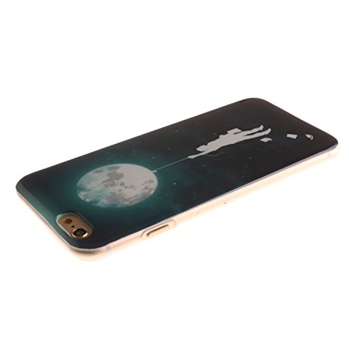 Pour Apple iPhone 5 5S 5SE Coque,Ecoway Housse étui en TPU Silicone Shell Housse Coque étui Case Cover Cuir Etui Housse de Protection Coque Étui Apple iPhone 5 5S 5SE –Black smiley moon 03