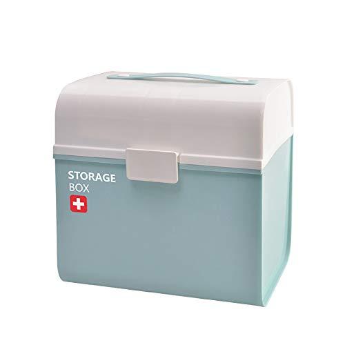 Kunststoff-Erste-Hilfe-Box mit Pille Fall, Medizinische Box mit abnehmbarem Fach für Familie Emergency Kit Speicher-Organisatoren (Abnehmbare Pille Fall)