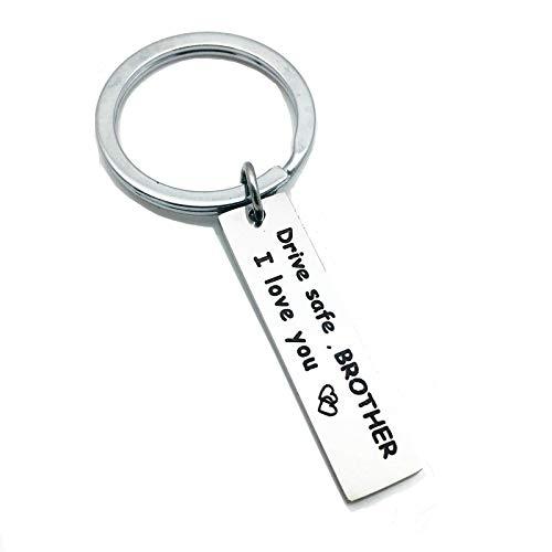 Coniea Schlüsselanhänger Quadrat Drive Safe L Love You Schlüsselkette Damen Silber Schlüsselbund Edelstahl Geschenk für Damen (Bvb-charme-armband)