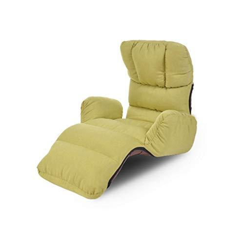 GY Klappbare Faule Couch, Boden Spiel Lounge Sessel, Einstellbar Einzelsofa Gepolsterte Rückenlehne, Unterstützen Wohnzimmer Liegestuhl Zurücklehnen Lesen Zu Hause Meditation, Mit Armlehnen (grün)