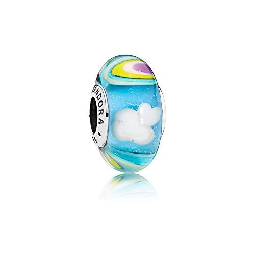 Pandora Damen Charm Schillerndes Regenbogen-Glas Sterling Silber, Muranoglas 797013