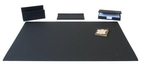 Läufer 38756 Ambiente LA LINEA - Juego de escritura, 4 unidades, de cuero auténtico, color negro