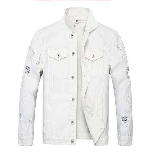 Swallowuk Herren Jeansjacke Demin Jeans Jacke Casual Übergangsjacke Sweatjacke Freizeitjacke Steppjacke Winterjacke Destroyed Vintage Mantel Outwear Tops (S, Weiß)