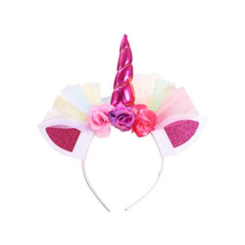 BESTOYARD 3 Stück Einhorn Haarreif Horn Stirnbänder Haarband mit Blumen und Ohren Kopfschmuck für Mädchen Kinder Halloween Cosplay Kostüm Party Dekoration (Rosig) (Golf Mädchen Halloween Kostüm)
