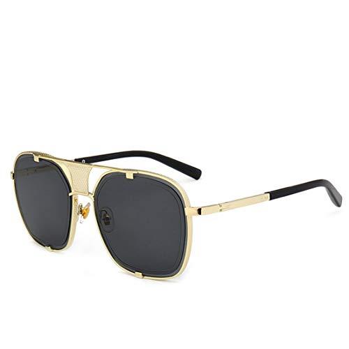 Yiph-Sunglass Sonnenbrillen Mode Retro-Stil Metall umrandeten Sonnenbrillen für Frauen Männer UV-Schutz. (Farbe : Schwarz)