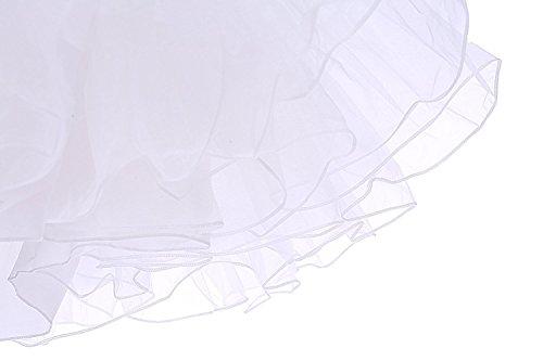 Minetom Femme Jupe Ballet Tutu Jupon Court Style Années Rockabilly Crinoline Petticoat Rétro 50 Vintage en Tulle Dress Ivoire