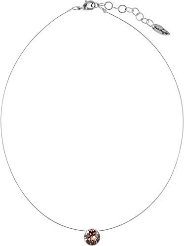Schwebender Stein an hauchdünnem Stahlseil, 9mm Swarovski ® Chatonstein, silberfarbig, Farbe:Blush Rose