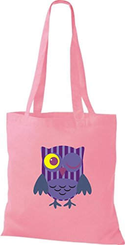 ShirtInStyle Jute Stoffbeutel Bunte Eule niedliche Tragetasche mit Punkte Karos streifen Owl Retro diverse Farbe, rosa