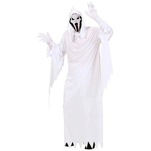 Weißes Scream Kostüm Geisterkostüm weiss L 50/52 Halloweenkostüm Geistkostüm Gespenstkostüm Tod Geist Gespenst Sensenmann
