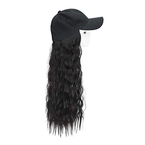 overlookTW 2pcs Wig With Hat Baseball Cap Women Long Curly Fashion Baseball Cap Black Gift For Your Friends And Loved Ones. very well -