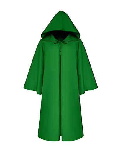Halloween Für Erwachsene Umhang Cosplay Theater Prop Tod Mit Kapuze Mantel Fantasie Kostum Grün 2XL