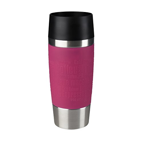Emsa 513550 Travel Mug Standard, Thermobecher, mobiler Kaffeebecher, 360 ml, Eis-Kaffee, Isolierbecher, Eistee, Quick Press Verschluss, himbeer