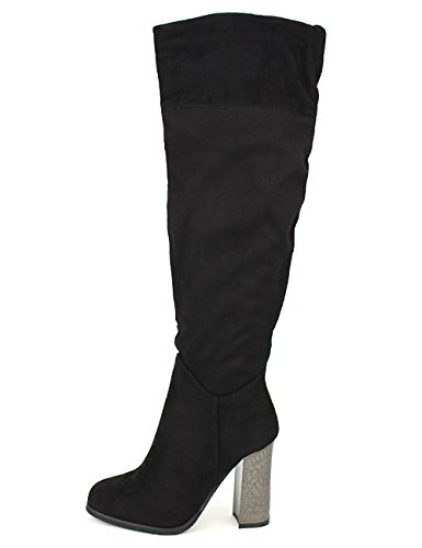 Cendriyon Botte Semi Cuissarde Noire Daim Malia Chaussures Femme