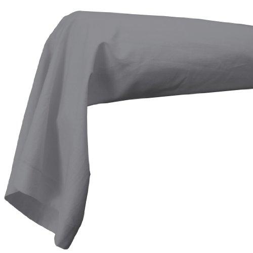 Douceur d'Intérieur Traversin + Point Bourdon - Gris Souris 100% Coton 185 x 85 cm