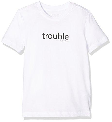 Calvin klein statement tee, t-shirt bambino, bianco (white 100), 128 (taglia produttore: 8-10)