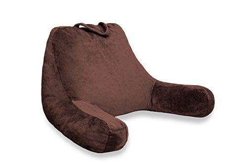 Lesekissen mit Velour Stoff in Espresso Braun mit Memory Schaumstoff Füllung - Gemütliches Kissen fürs Bett, Sofa, Couch & TV und Gegen Rückenschmerzen - Kopf & Becken Unterstützung für Schwangere