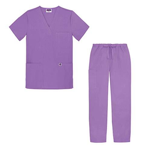 Sivvan Unisex-Schrubb-Set - Medizinische Uniform mit Oberteil und Hose S8400 Farbe: LAV | Größe: S -