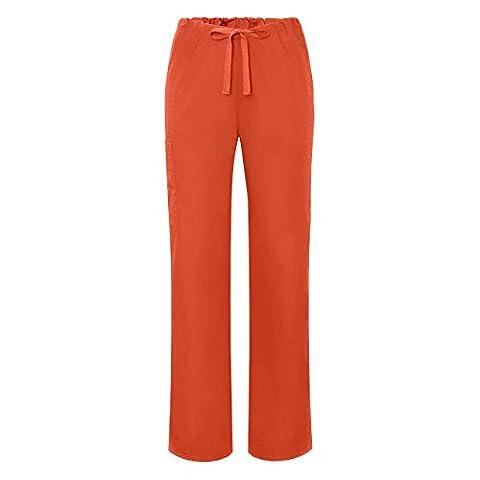 Adar Universal Unisex Natural-Rise Drawstring Tapered Leg Scrub Pants - 504 - Mandarin Orange - XL