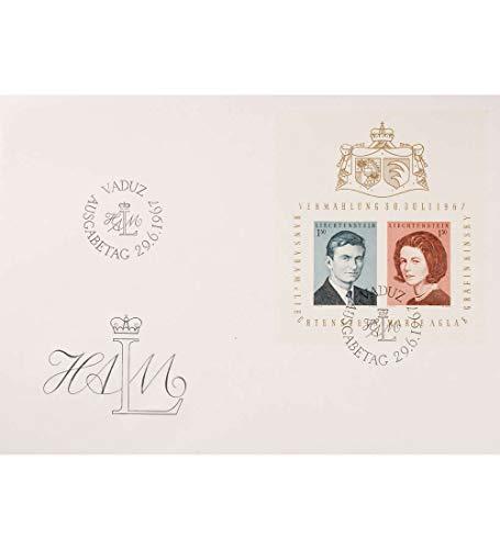 Goldhahn Liechtenstein Block 7 FDC Ersttagsbrief Hochzeit des Prinzen Briefmarken für Sammler -