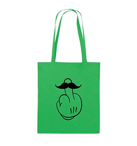 Comedy Bags - COMIC HAND FUCK - SCHNURRBART - Jutebeutel - lange Henkel - 38x42cm - Farbe: Schwarz / Silber Grün / Schwarz
