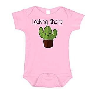Looking Sharp Adorable Cactus Onesie, Adorable Screen Print Design on Pink 6-12 mo
