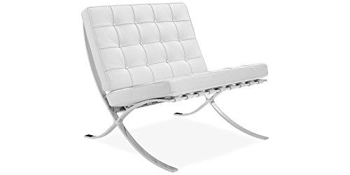 Sessel Stuhl Replik Barcelona Mies van der Rohe Echtleder Designer Vetrostyle weiss -