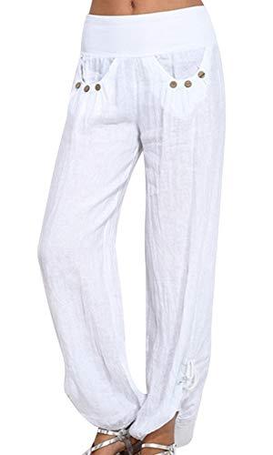 Vertvie Damen Hosen Lang Einfarbig Harem-Stil Pumphose Haremshose Sommerhose Yogahose Aladinhose Pluderhose mit Elastischen Bund(Weiß, EU L/Etikettengröße XL)