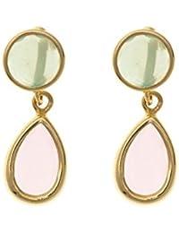 Córdoba Jewels | Pendientes en plata de Ley 925. Diseño Esfera Esmeralda Gota Rosa de Francia