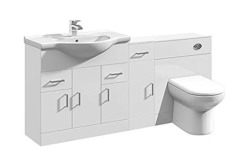 1500mm Modular White 500mm WC Bathroom Vanity Basin & Cupboard Unit