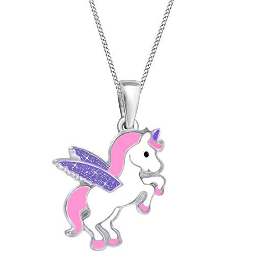 Glitzer Flügel Einhorn Anhänger + Kette 925 Sterling-Silber Mädchen Kinder Pegasus Pferd (Rosa-Lila, 38)