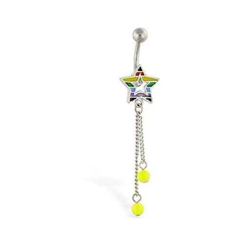 Rainbow Stern mit Dangling Bauch Ring Neon Grün - (Neon Ringe Button Belly)