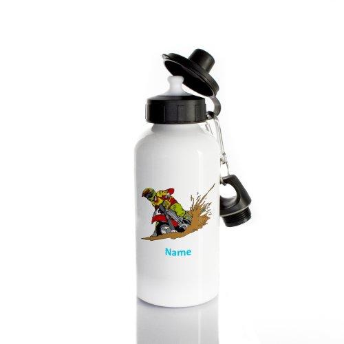 Striefchen® Trinkflasche für Jungen Motiv: Motorrad mit Wunschname