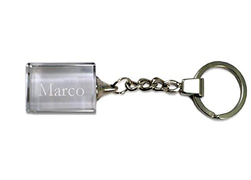 SHOPZEUS Eingravierter Glas-Schlüsselanhänger mit Aufschrift Marco (Vorname/Zuname/Spitzname) - Marco Gläser