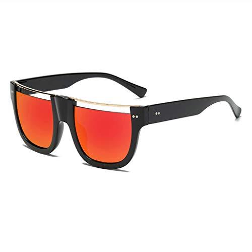 MWPO Sonnenbrillen Square Hollow Fashion Bunte Flache Augenbrauenform Halbrand Outdoor Comfort UV-Schutzbrille (Farbe: schwarzer Rahmen rote Linse)
